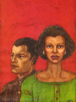 "Detail of artwork for Buchi Emecheta's "" Double Yoke"", batik Marina Elphick."