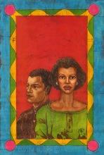 "Artwork in batik for Buchi Emecheta's "" Double Yoke"" by Marina Elphick. Buchi Emecheta was one of Africa's foremost writers, her work was read and loved worldwide."