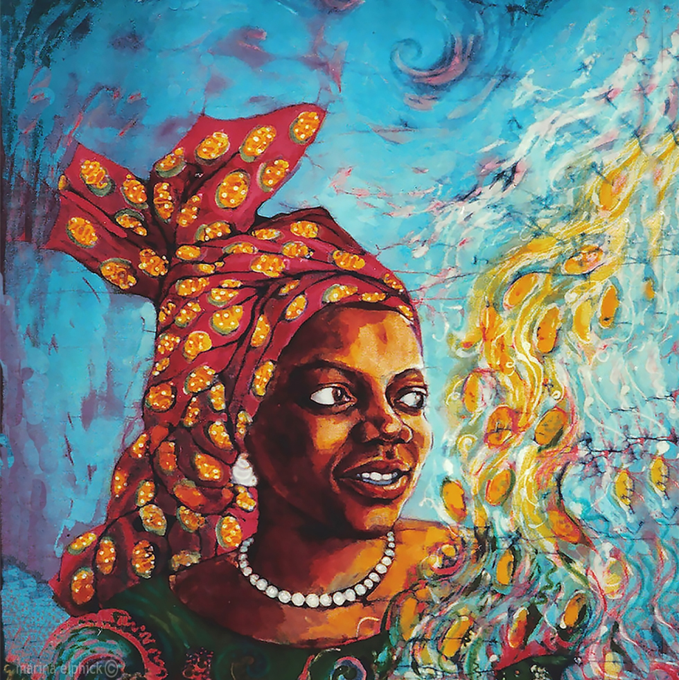 "Completed artwork in batik for ""Head Above Water"", a portrait of Buchi Emecheta, by Marina Elphick. Florence Onyebuchi Emecheta was one of Africa's foremost writers, her work was read and loved worldwide."