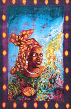 "Completed artwork in batik for ""Head Above Water"", Buchi Emecheta, by Marina Elphick. Florence Onyebuchi Emecheta was one of Africa's foremost writers, her work was read and loved worldwide."