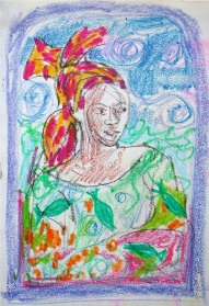 "Sketch for ""Head Above Water"", wax crayon, by Marina Elphick."