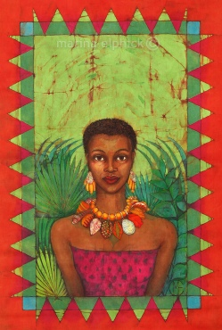 """The Slave Girl"", batik by Marina Elphick.buchi Emecheta was one of Africa's foremost writers, her work was read and loved worldwide."