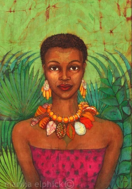 "Detail of ""The Slave Girl"", batik artwork by Marina Elphick,."