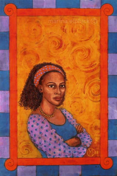 "Completed artwork for ""The Bride Price"", batik by Marina Elphick. The Bride Price was Buchi Emecheta's first novel, the original manuscript was destroyed by her husband."
