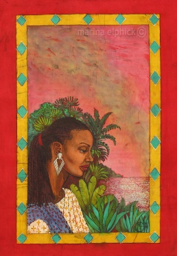 "Batik artwork for Buchi Emecheta's ""The Rape Of Shavi"", by Marina Elphick. Buchi Emecheta was one of Africa's foremost writers, her work was read and loved worldwide."