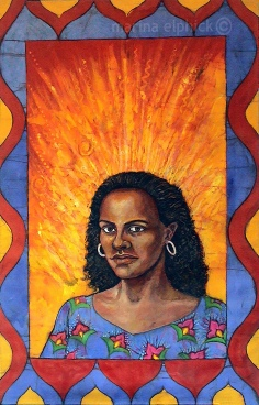 "Artwork in batik for Buchi Emecheta's ""Second Class Citizen"". Emecheta was one of Africa's foremost writers, her work read worldwide."