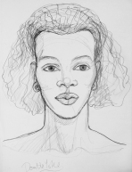 Caroline sketch for Double Yoke, pencil, by Marina Elphick.