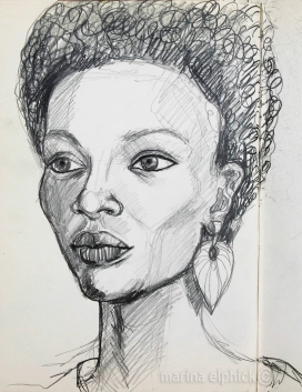 Caroline sketch for 'In the Ditch', pencil, by Marina Elphick.