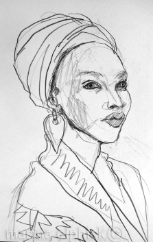 Sketch of Caroline with headscarf for 'In the Ditch', pencil, by Marina Elphick.