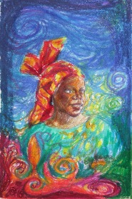 "Colour sketch for ""Head Above Water"", Pastel, by Marina Elphick, UK Batik artist."