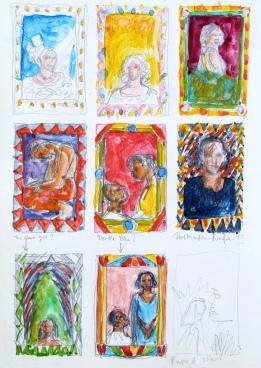 Rough ideas for Buchi Emecheta book covers.