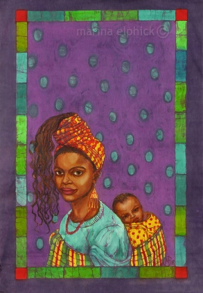 "Art work for ""The Joys of Motherhood"", batik by Marina Elphick.buchi Emecheta was one of Africa's foremost writers, her work was read and loved worldwide."