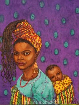 "Detail of artwork in batik for Buchi's ""The Joys of Motherhood"" by Marina Elphick. Leading UK batik artist."