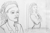 "Sketches of Yvonne for ""The Bride Price"", by Marina Elphick."
